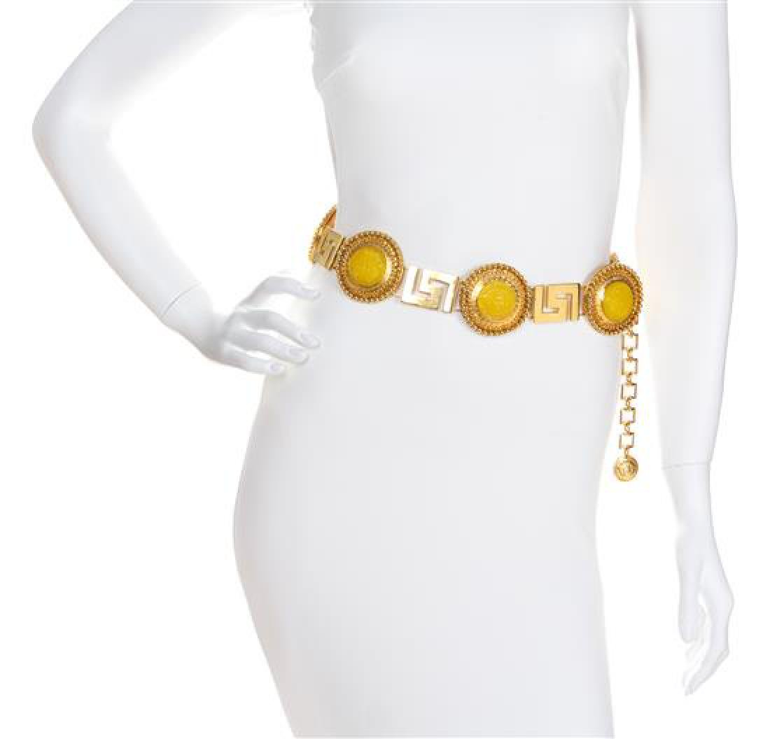 A Gianni Versace Yellow Medallion and Greco Link Belt,