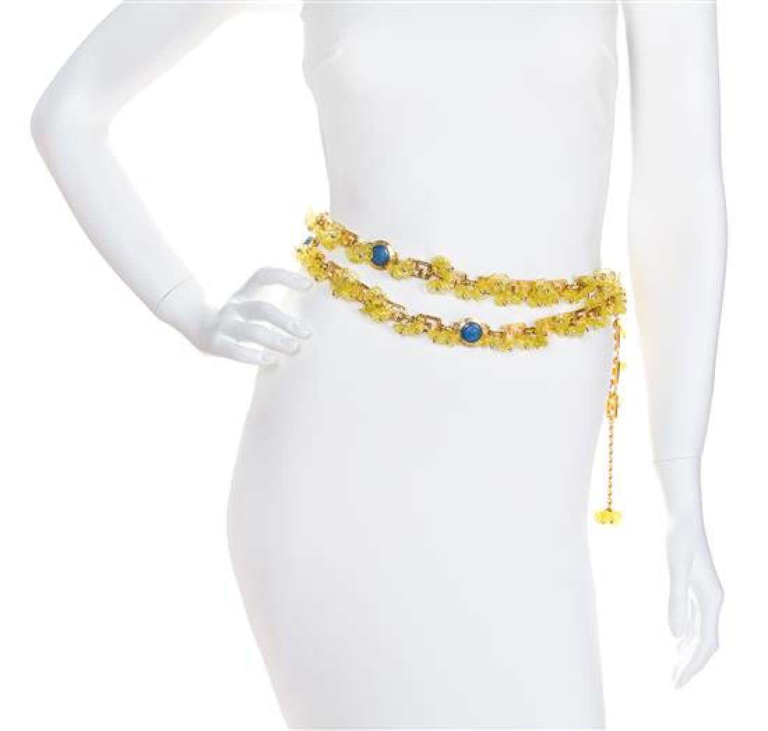 A Gianni Versace Yellow Floral and Greco Link Belt, 60""