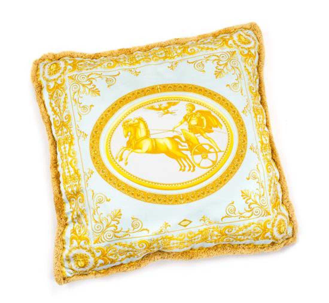 "A Gianni Versace Silk Pillow Cover, 25"" x 25""."