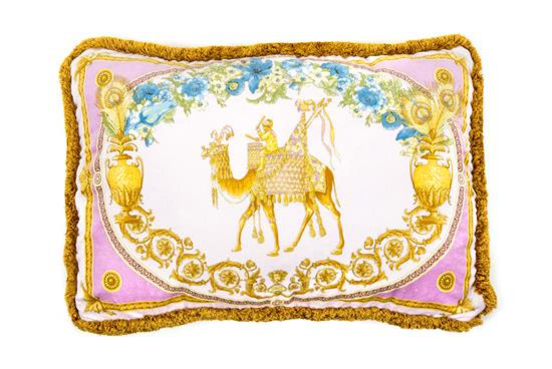 "A Gianni Versace Silk Pillow Cover, 25"" x 18""."