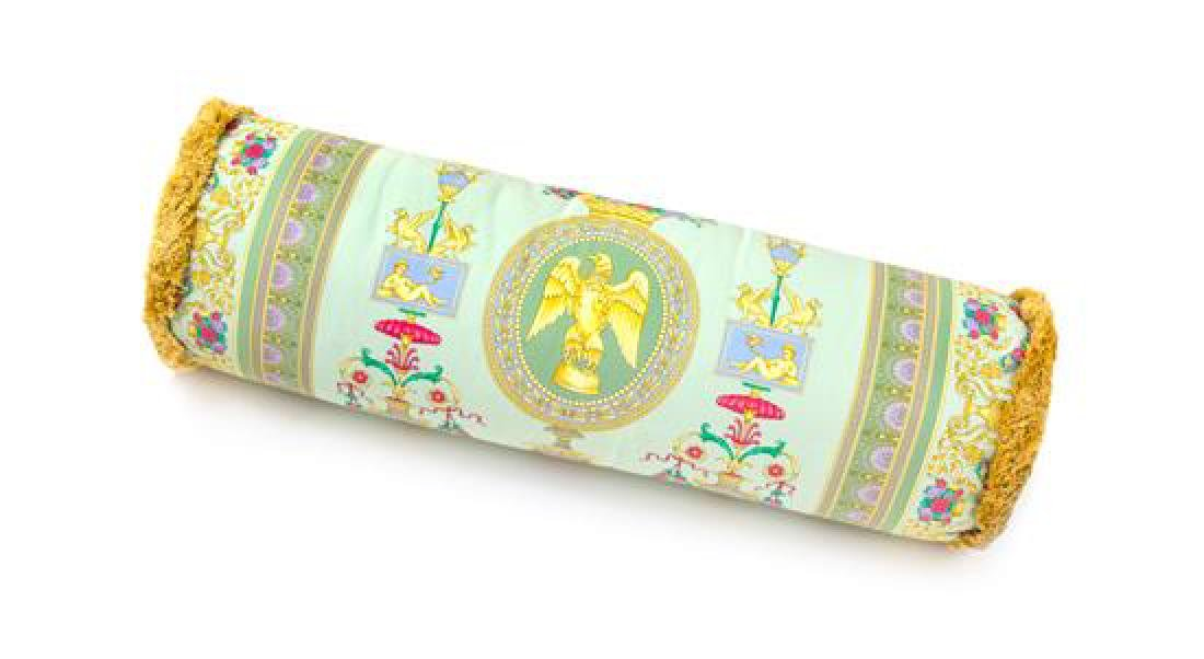 "A Gianni Versace Silk Bolster Pillow, Length: 30"";"