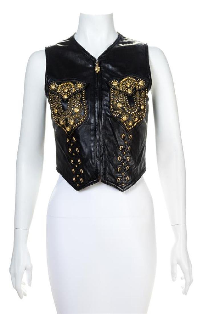 A Gianni Versace Black Leather Vest,