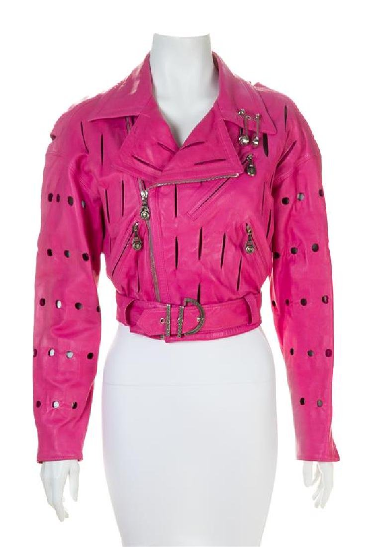 A Gianni Versace Pink Leather Moto Safety Pin Jacket,
