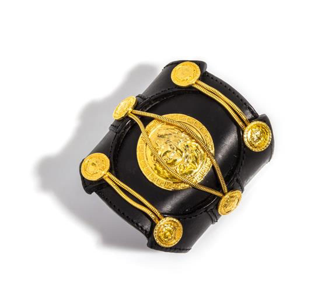 A Gianni Versace Black Leather Cuff with Center Medusa