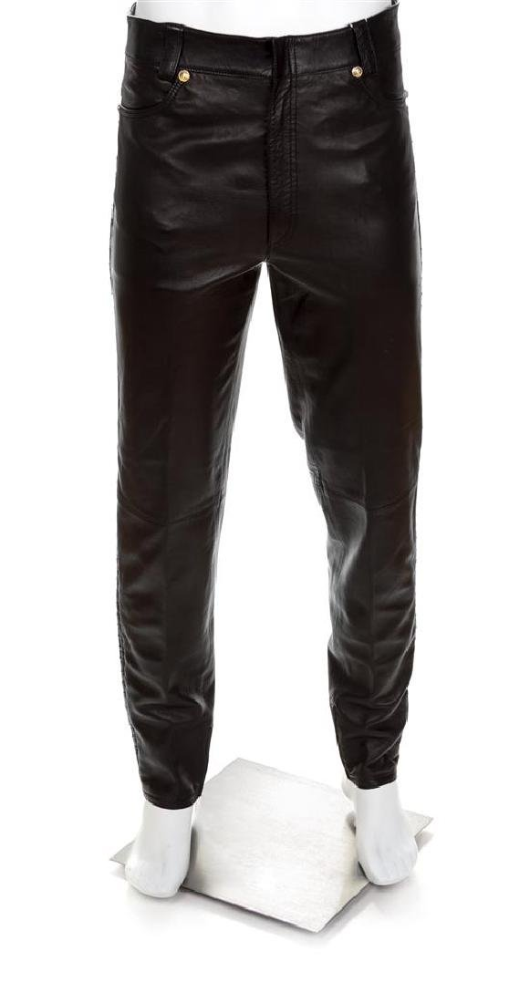 A Gianni Versace Black Leather Men's Pant, Size 52.