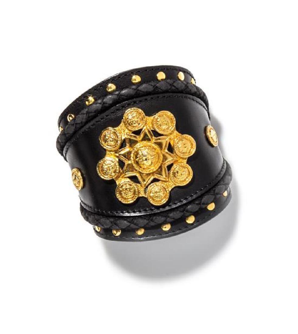 "A Gianni Versace Black Leather Cuff, Width: 3.5"";"