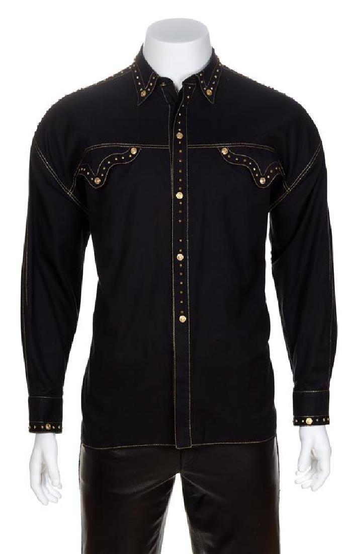 A Gianni Versace Black Cotton Western Shirt, Size 52.
