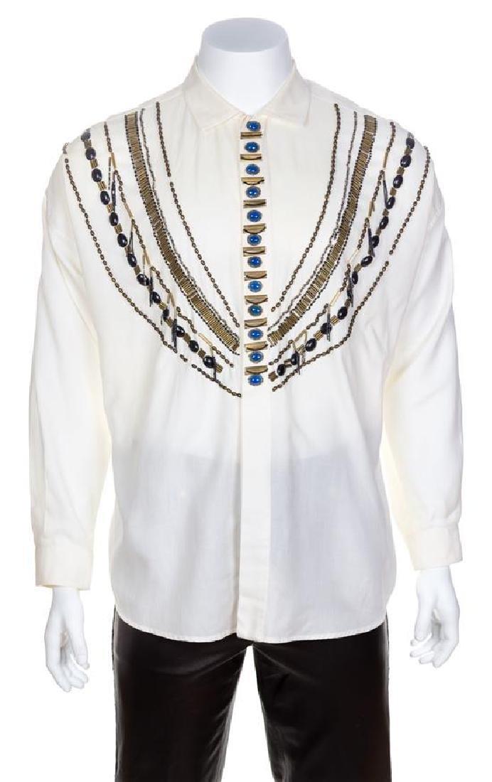 A Gianni Versace Cream Linen Western Embellished Shirt,