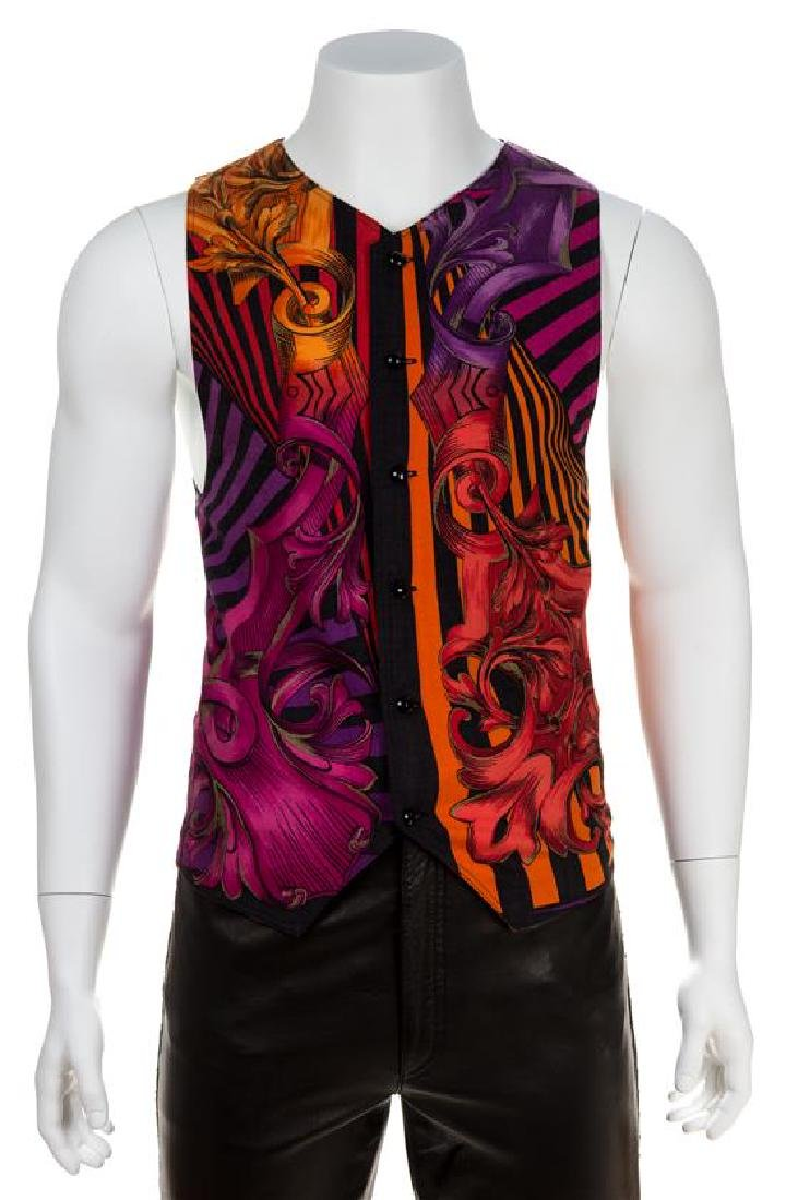 A Gianni Versace Wool Atelier Print Vest, Size 52.