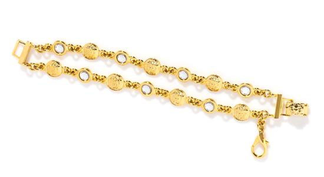 "A Gianni Versace Double Strand Bracelet, 7"" X .5""."