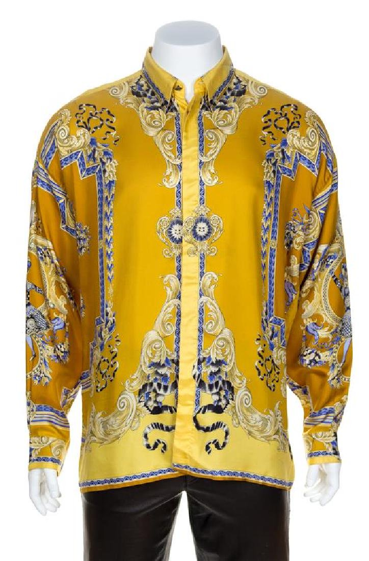 A Gianni Versace Silk Print Shirt, Size 54.
