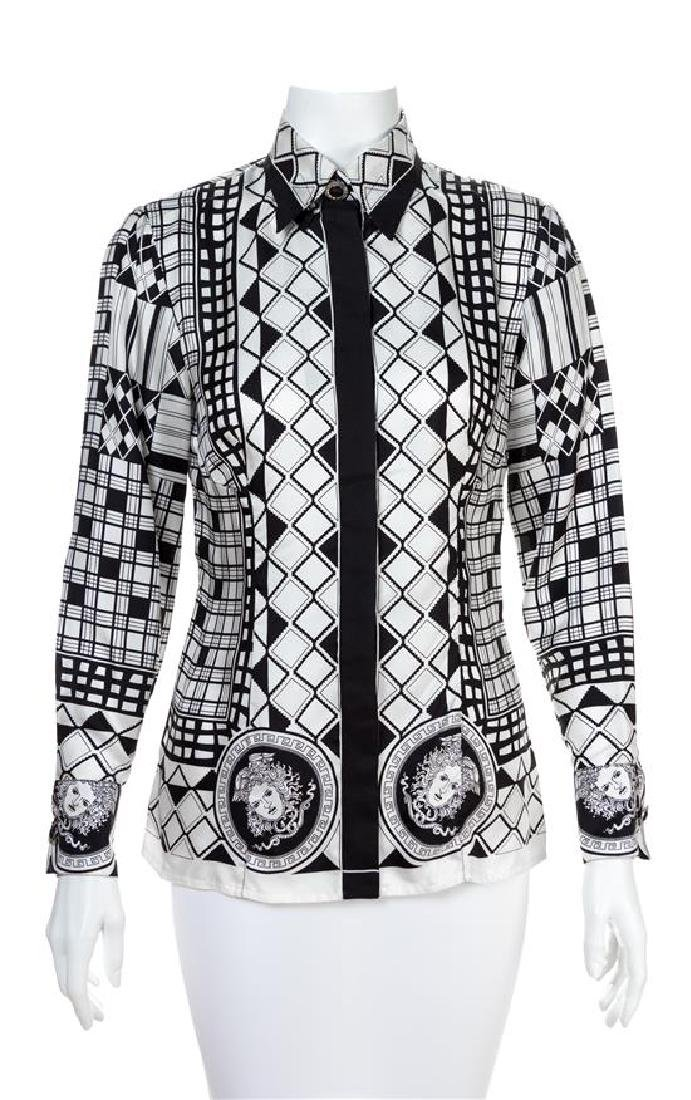 A Gianni Versace Silk Atelier Print Shirt, Size 40.