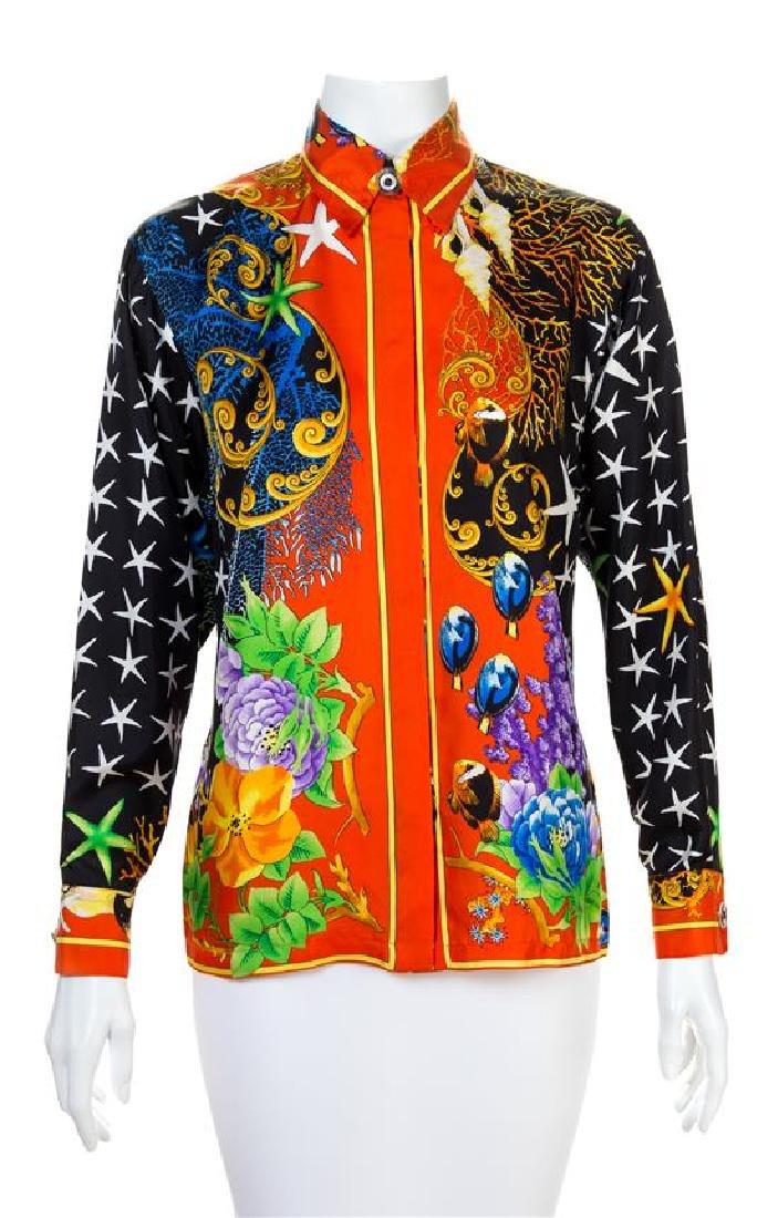 A Gianni Versace Silk Print Shirt, Size 38.