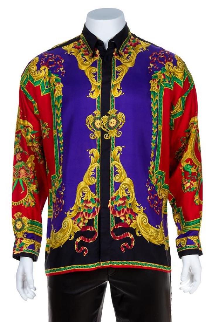 A Gianni Versace Silk Print Shirt, Size 48.