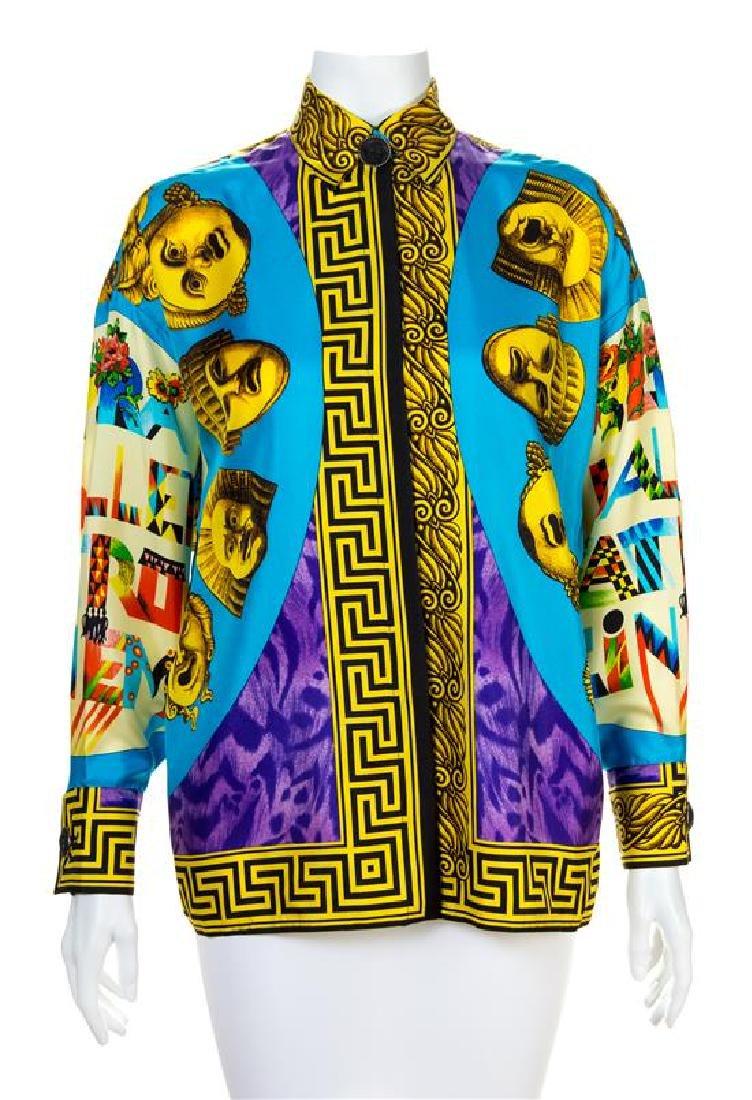 A Gianni Versace Silk Print Shirt, Size 34.