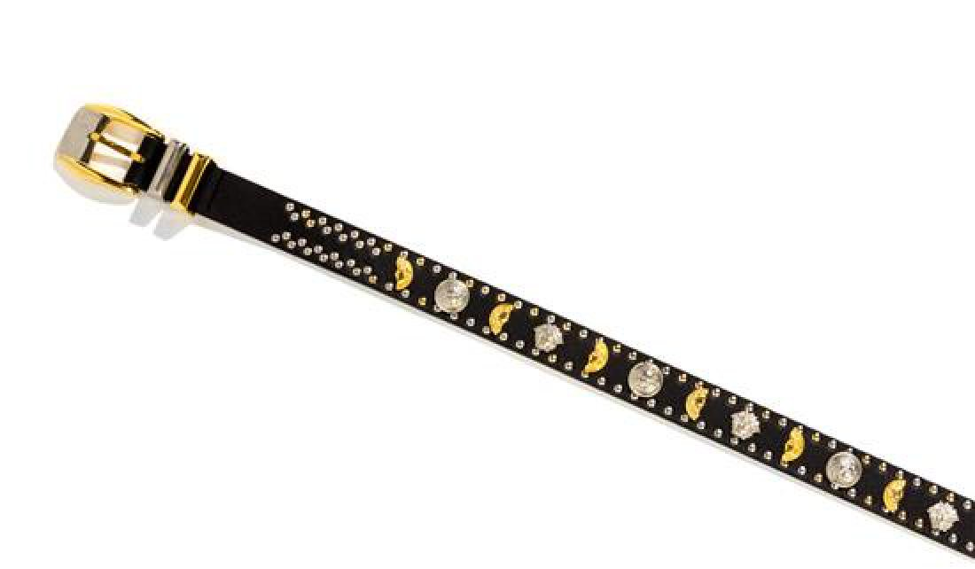 """A Gianni Versace Black Leather """"Broken Coin"""" Belt, Size"""