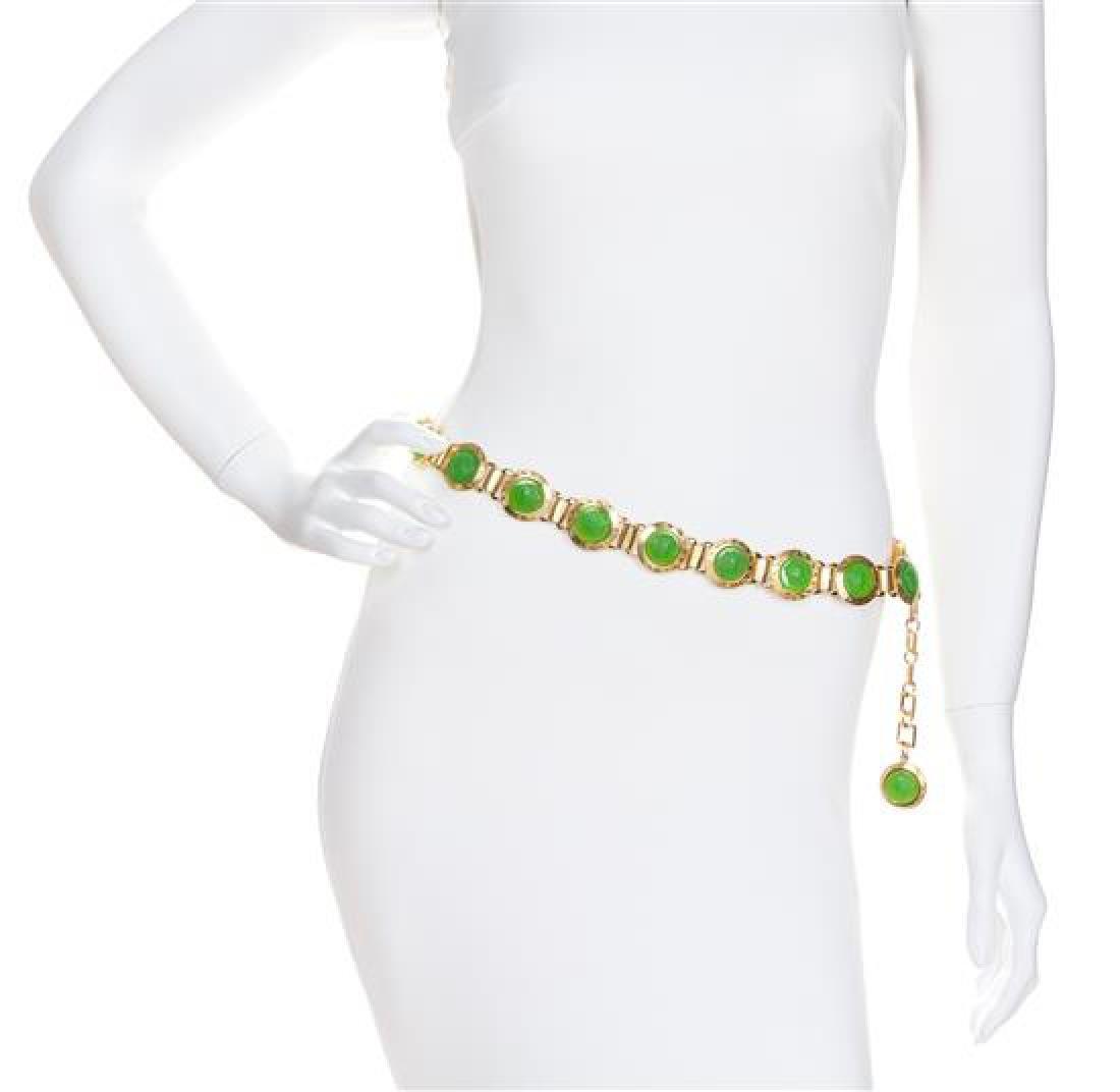 A Gianni Versace Green Embossed Medusa Link Belt,