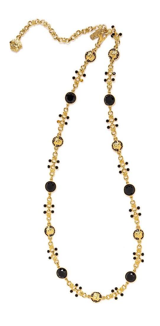 A Gianni Versace Black Rhinestone Medusa Link Belt,