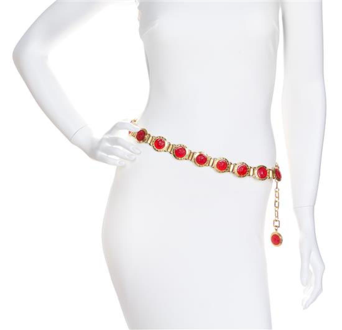 A Gianni Versace Red Embossed Medusa Link Belt,