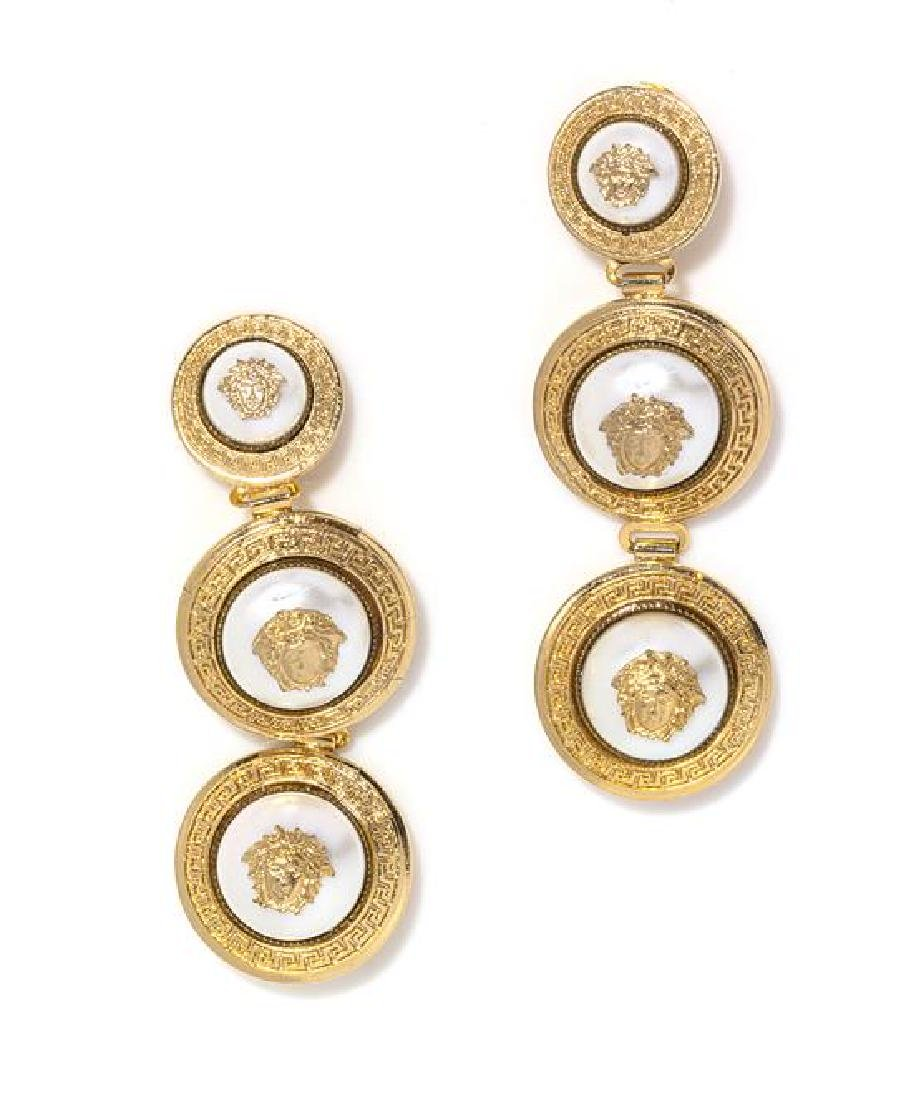 A Pair of Gianni Versace Pearl Medusa Medallion Drop