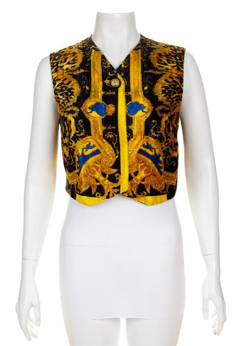 A Gianni Versace Velvet Vest, Size 38.