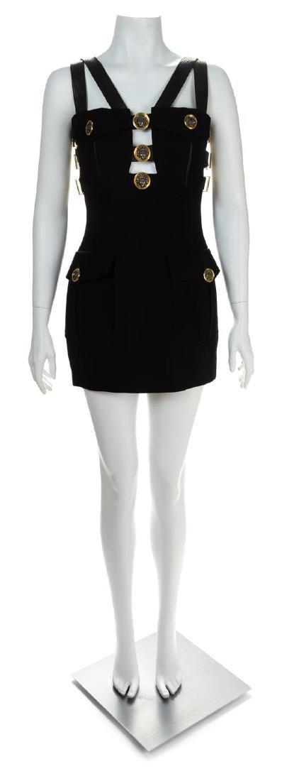 A Gianni Versace Black Wool Bondage Dress, Size 38.