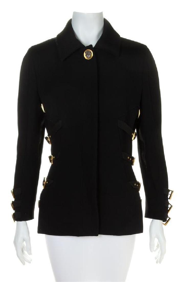 A Gianni Versace Black Bondage Jacket, Size 42.