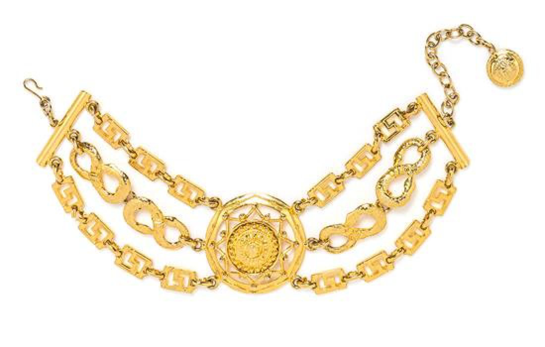 A Gianni Versace Triple Strand Choker with Center