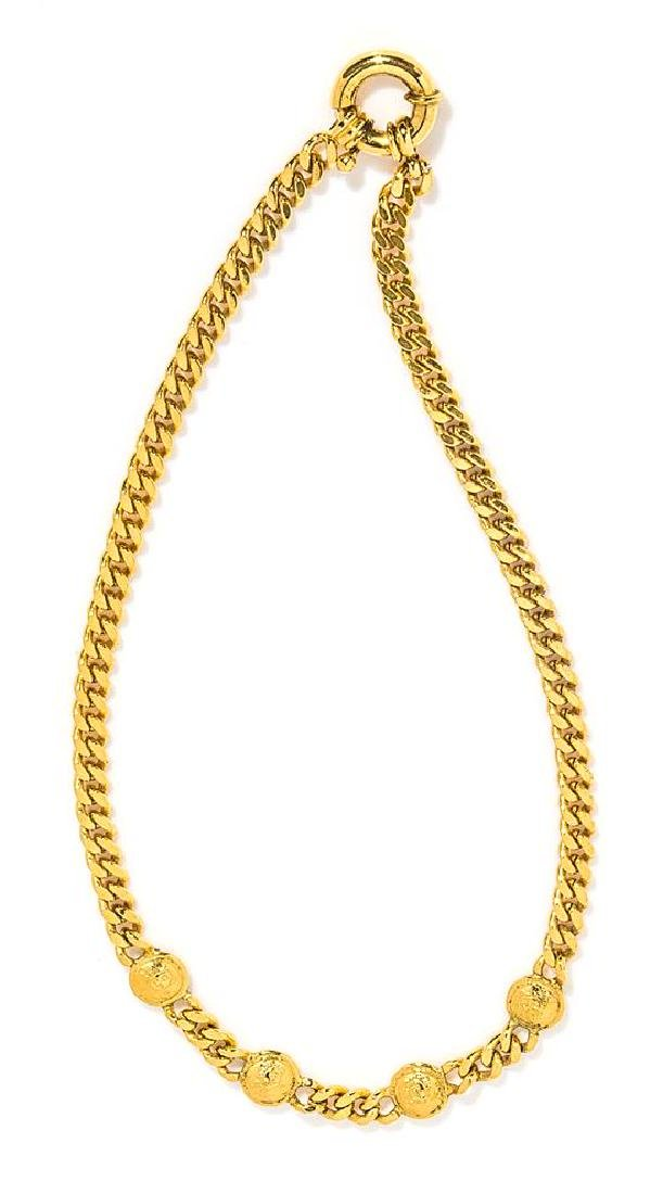 "A Gianni Versace Gold Heavy Link Necklace, Length: 18""."