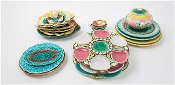 A Group of Majolica Table Articles