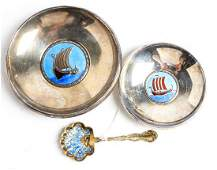 Two Norwegian Silver and Enamel Dishes