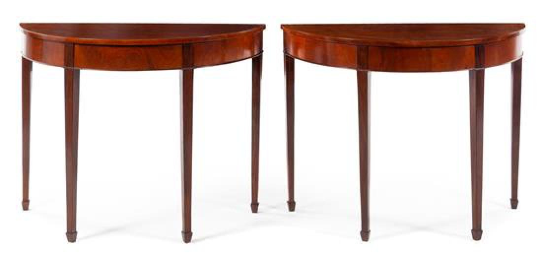 A Pair of Georgian Style Mahogany Console Tables
