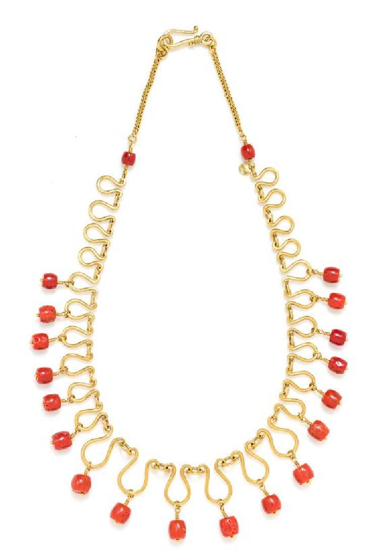 A 22 Karat Yellow Gold and Coral Bead Fringe Necklace,