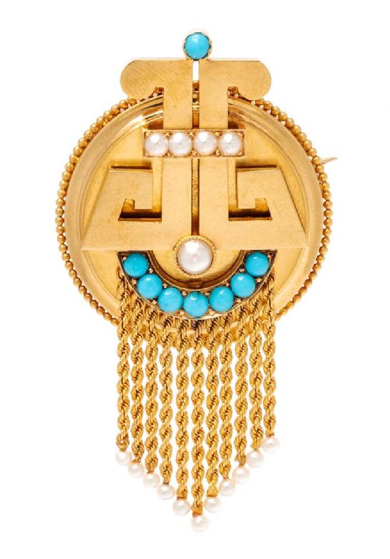 * An Etruscan Revival 18 Karat Yellow Gold, Turquoise