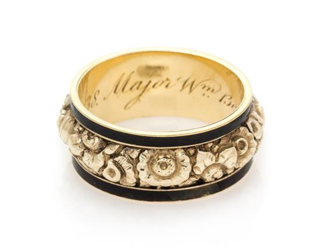 A Georgian Yellow Gold and Enamel Mourning Ring, Circa