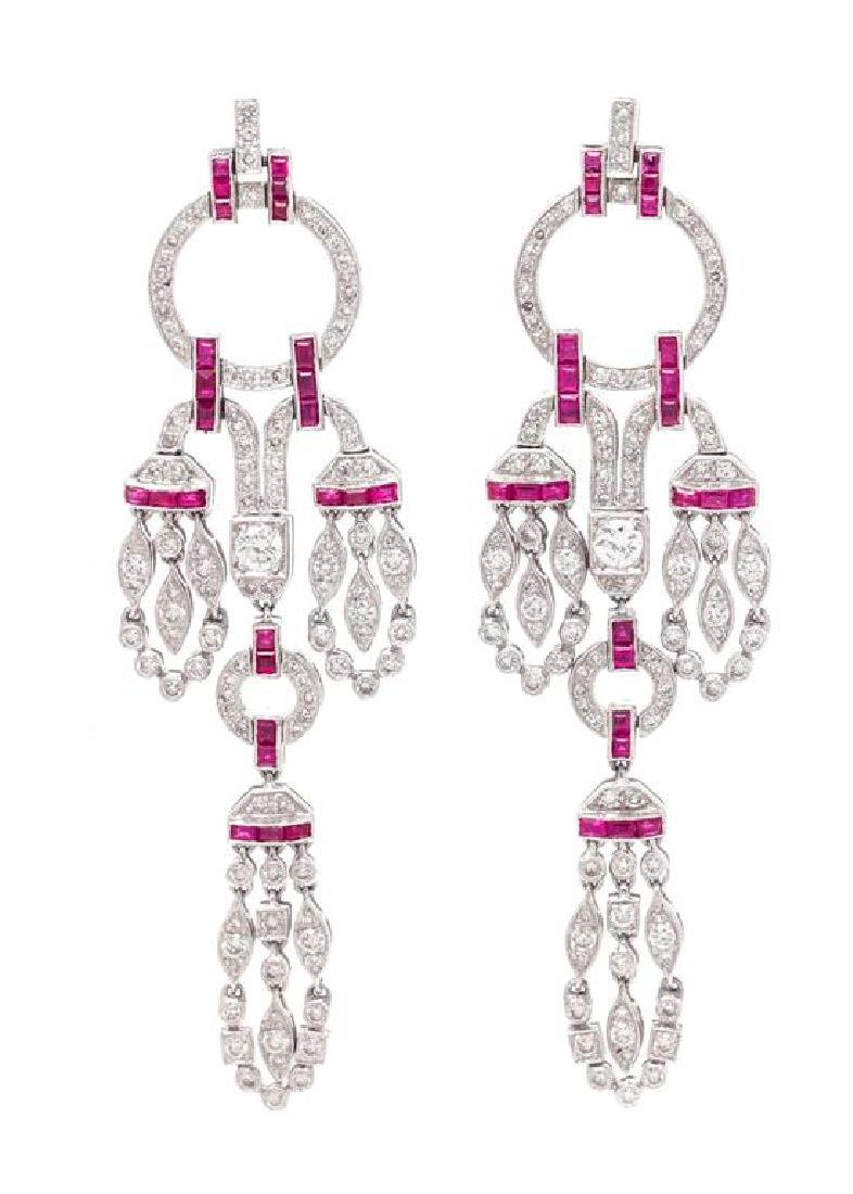 A Pair of 18 Karat White Gold, Diamond and Ruby