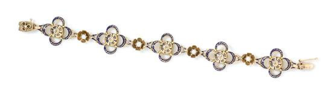A 14 Karat Yellow Gold, Diamond, Cultured Pearl and