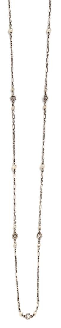 * A Platinum, Diamond and Seed Pearl Longchain