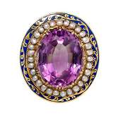 A Victorian Yellow Gold, Amethyst, Enamel and Seed