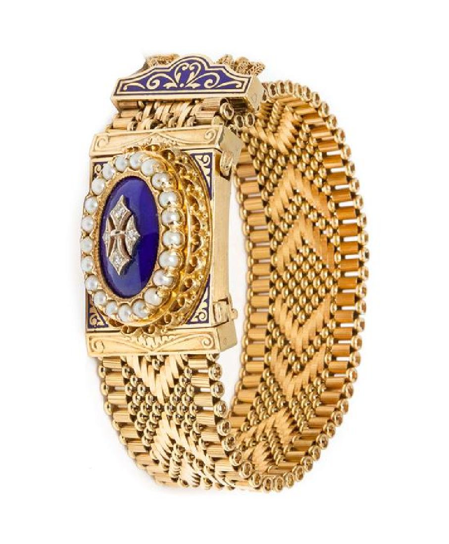 * A 14 Karat Yellow Gold, Diamond, Cultured Pearl and