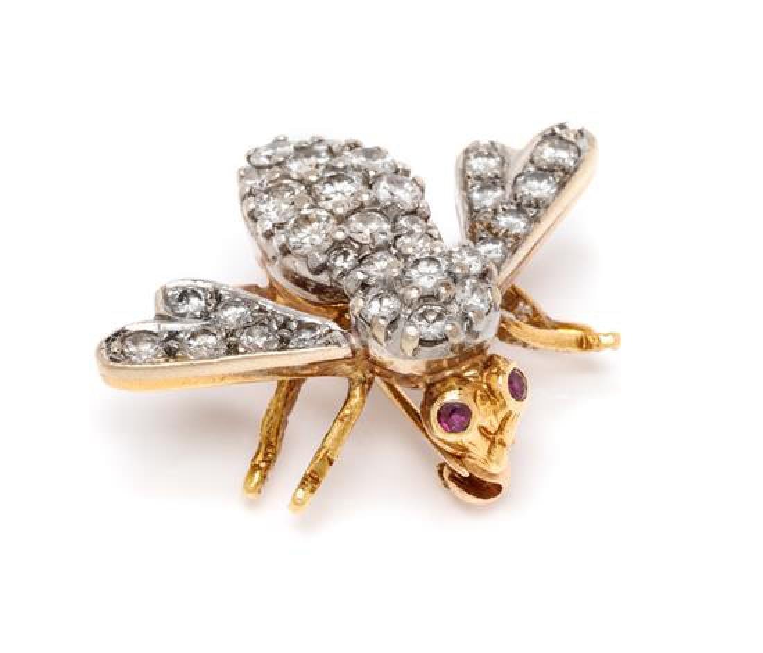 An 18 Karat Bicolor Gold, Diamond and Ruby Bee Brooch,