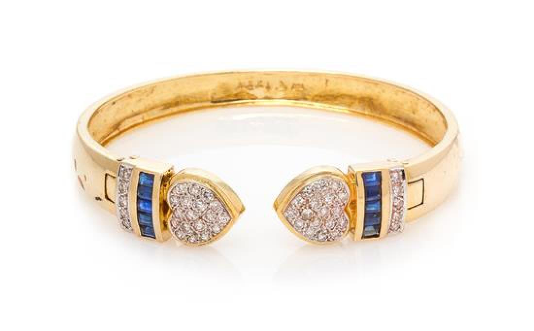 An 18 Karat Yellow Gold, Diamond and Sapphire Cuff