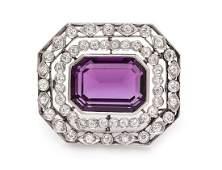 An Art Deco Platinum, Amethyst and Diamond