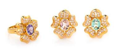 An 18 Karat Yellow Gold, Multigem, Diamond and Cultured