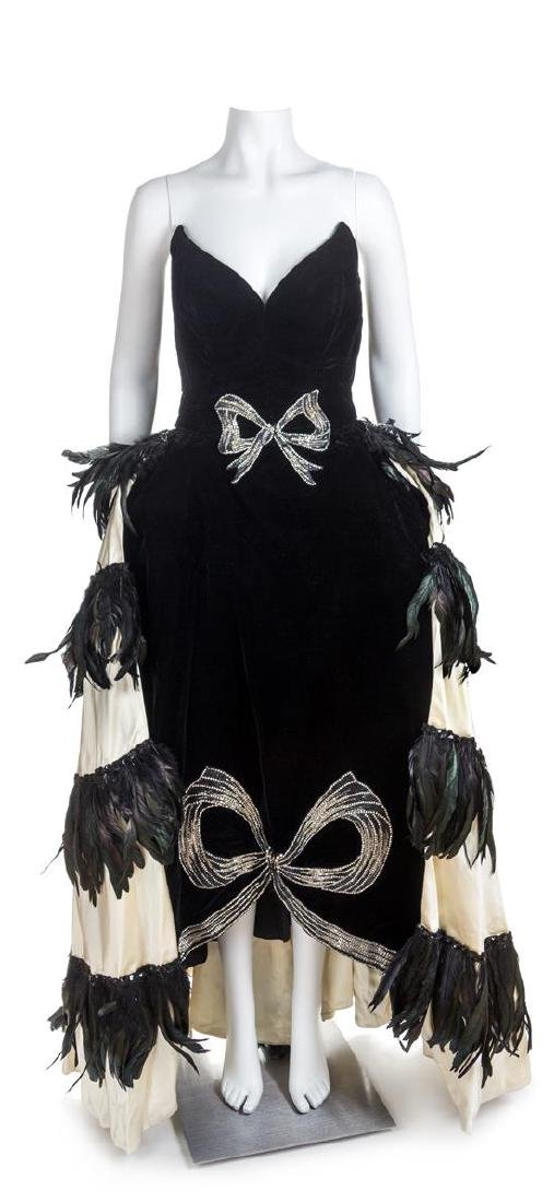 A Brooks Costume Black Velvet Custom Made Bustle Gown,