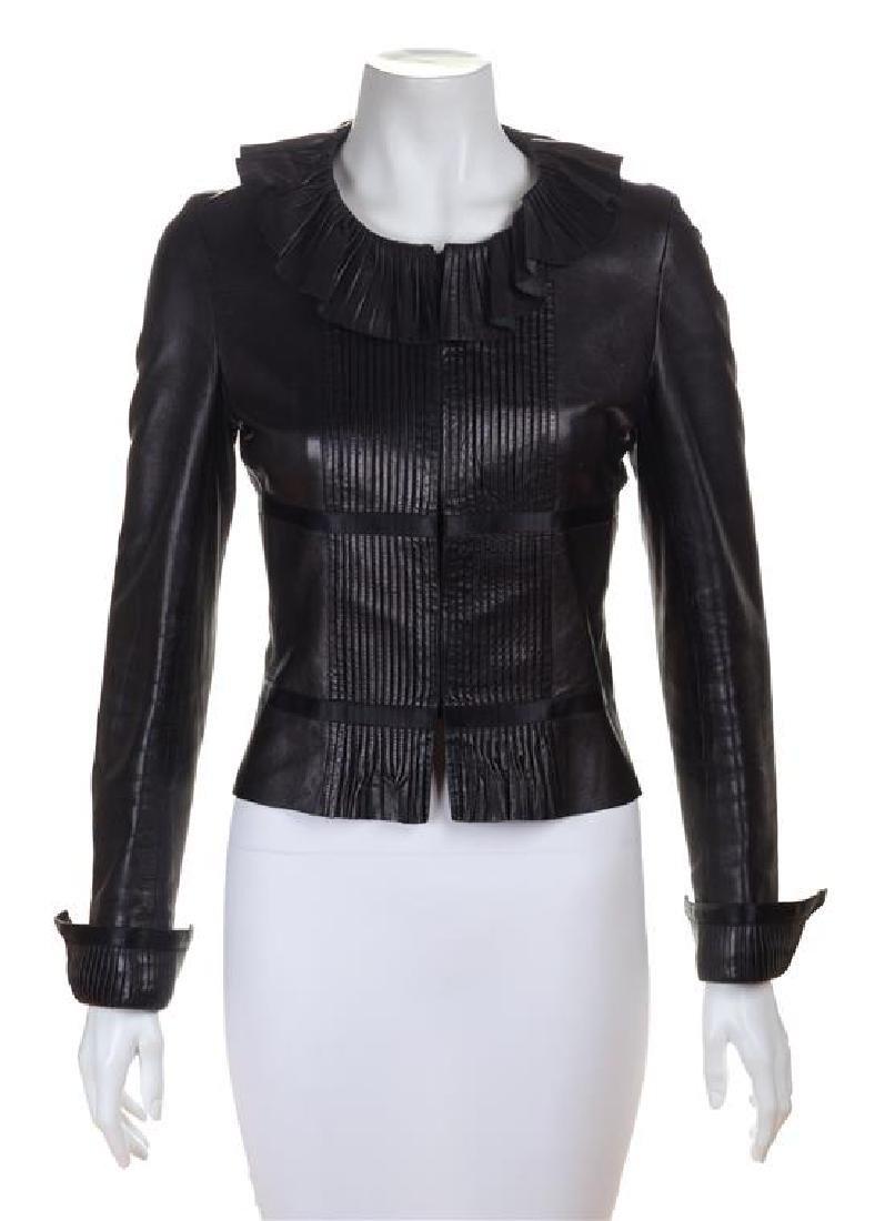 A Chanel Black Lambskin Leather Jacket, Size 38.