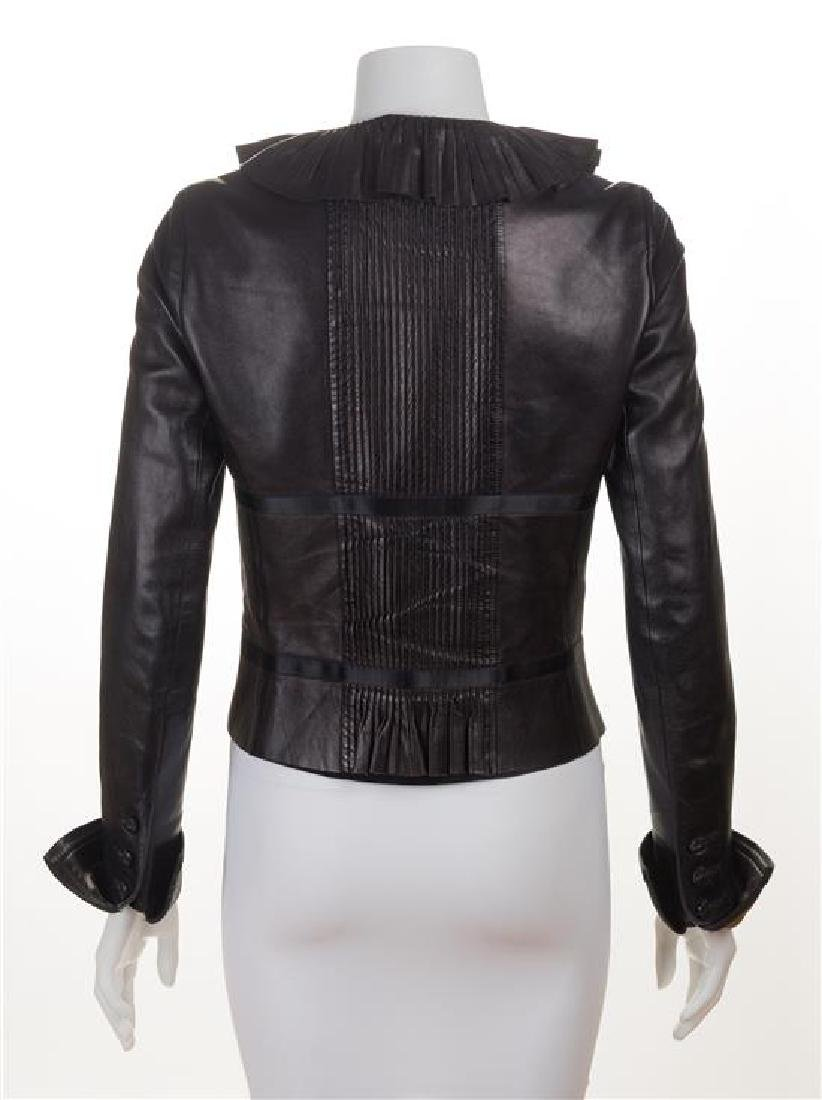 A Chanel Black Lambskin Leather Jacket, Size 38. - 2