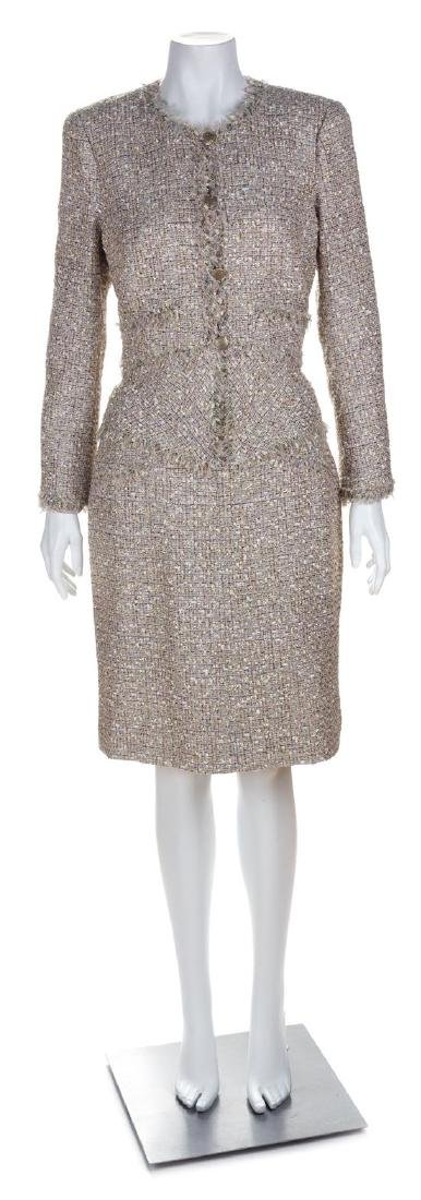 A Chanel Pink and Metallic Thread Boucle Skirt Suit,