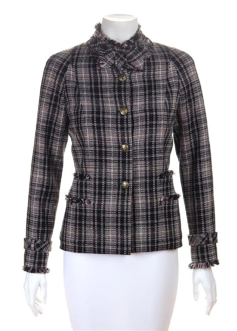 A Chanel Multicolor Wool and Cashmere Plaid Jacket Size
