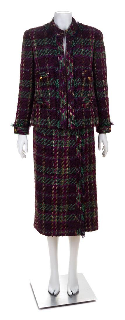 * A Chanel Multicolor Wool Textured Jacket and Skirt